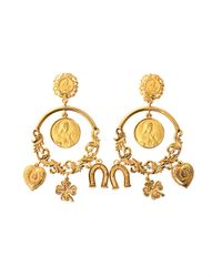 Dolce & Gabbana | Metallic Charm Hoop Earrings | Lyst