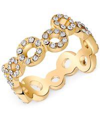 T Tahari | Metallic Gold-tone Crystal Squiggle Circle Ring | Lyst