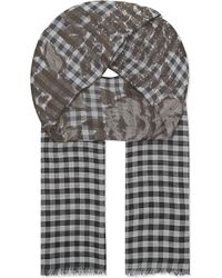 Etro | Gray Mix Check Floral Scarf for Men | Lyst