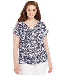 INC International Concepts | Blue Plus Size Printed Cold-shoulder Top | Lyst
