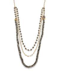 Nest | Metallic Pyrite & Druzy Triple-strand Beaded Necklace | Lyst