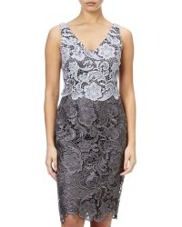 Adrianna Papell Metallic Guipure Lace Dress