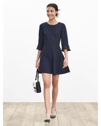 Banana Republic | Blue Flutter-sleeve Dress | Lyst