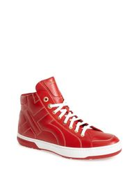 Ferragamo | Red 'nicky' High Top Sneaker for Men | Lyst