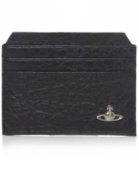 Vivienne Westwood | Black Cracked Leather Orb Card Holder for Men | Lyst