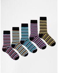 ASOS - Multicolor Socks 5 Pack With Stripe Zig Zag Design for Men - Lyst