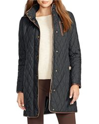 Lauren by Ralph Lauren | Black Faux Leather-trimmed Quilted Trench Coat | Lyst
