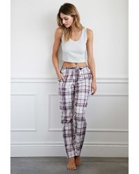 Forever 21 - Pink Plaid Flannel Pj Pants - Lyst