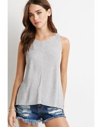 Forever 21 | Gray Center-seam Ribbed Tank | Lyst