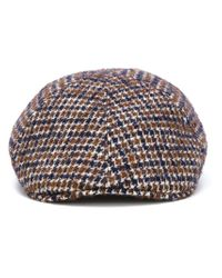 Tagliatore - Blue Houndstooth Flat Cap for Men - Lyst