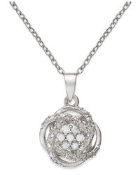 Macy's | Metallic Diamond Love Knot Pendant Necklace In Sterling Silver (1/10 Ct. T.w.) | Lyst