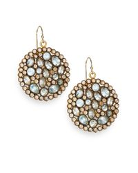 Nunu | Brown Blue Topaz Jeweled Disc Earrings | Lyst