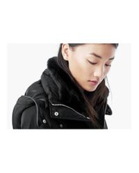 Mango | Black Quilted Feather Coat | Lyst
