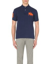 Pink Pony - Blue Dual Logo-embroidered Cotton-piqué Polo Shirt for Men - Lyst