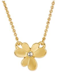 Kate Spade | Metallic Gold-tone Pansy Blossoms Mini Pendant Necklace | Lyst