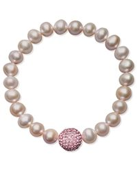 Macy's | Pink Cultured Freshwater Pearl (8-9mm) And Pink Crystal Bead Bracelet | Lyst