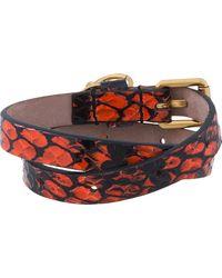 Alexander McQueen Red Snake Leather Double Wrap Skull Charm Bracelet for men