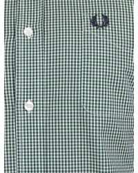 Fred Perry Green Three Colour Gingham Shirt for men