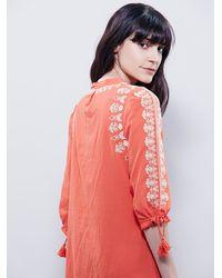 Free People - Orange Santorini Embroidered Dress - Lyst
