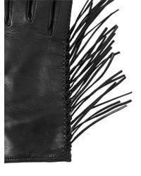 Valentino - Black Fringed Nappa Leather Gloves - Lyst