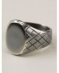 Bottega Veneta Metallic Intrecciato Silver Ring for men