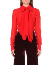 Emilio Pucci | Red Ruffled Silk-chiffon Shirt | Lyst