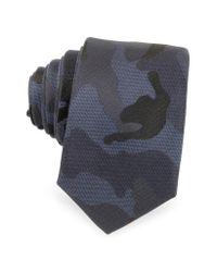 Valentino - Blue Camouflage Silk Narrow Tie for Men - Lyst