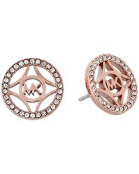 Michael Kors - Metallic Monogram & Pave Stud Earring - Lyst