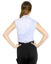 Vionnet - Blue Silk Tulle Cotton Poplin Shirt - Lyst