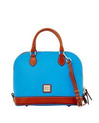 Dooney & Bourke Blue Leather Zip Satchel
