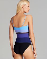Gottex Blue Rio Surplice One Piece Swimsuit