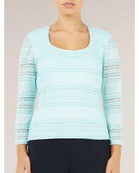 Precis Petite Blue Aqua Stripe Lace Jersey Top
