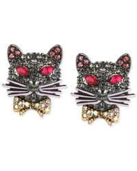 Betsey Johnson - Metallic Hematite-tone Pavé Cat Stud Earrings - Lyst