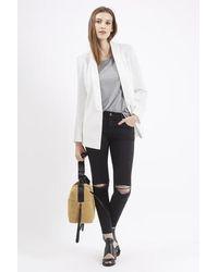 TOPSHOP | White Belted Tuxe Blazer Jacket | Lyst