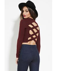 778ba028ec87c Lyst - Forever 21 Marled Strappy Cutout Crop Top in Purple