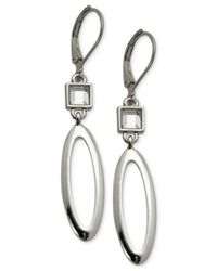 T Tahari | Metallic Silver-tone Crystal Open Oval Drop Earrings | Lyst