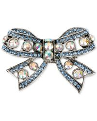 Betsey Johnson | Pink Silver-tone Crystal Bow Pin | Lyst