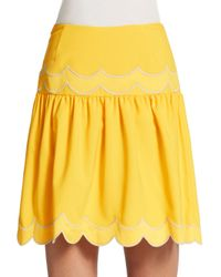 RED Valentino - Yellow Scallop-Detail Skirt - Lyst