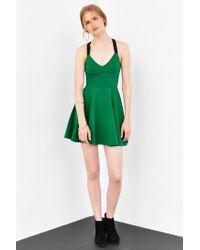 Silence + Noise Green Emerald City Wide-strap Mini Dress