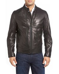 Andrew Marc Black Windsor Leather Racer Jacket for men