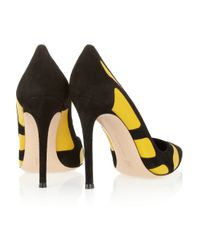Gianvito Rossi Yellow Two-tone Suede and Leather Pumps