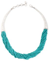 Lucky Brand - Blue Silver-tone Turquoise Beaded Collar Necklace - Lyst