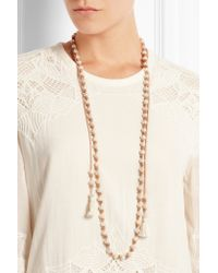 Chan Luu - Natural Tasseled Suede And Pearl Necklace - Lyst