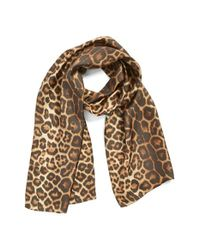 Badgley Mischka | Multicolor Leopard Print Silk Scarf | Lyst