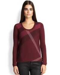 Burberry Brit - Red Merino Wool & Cashmere Check Sweater - Lyst