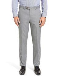 Ted Baker Gray 'lubtro' Modern Slim Fit Textured Trousers for men