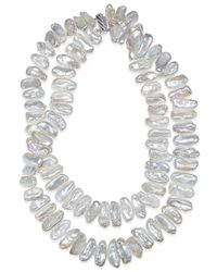 Macy's | Metallic Keshi Pearl Two-row Necklace In Rhodium-plated Sterling Silver (21mm) | Lyst