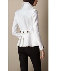 Burberry White Regimental Pleat Pea Coat