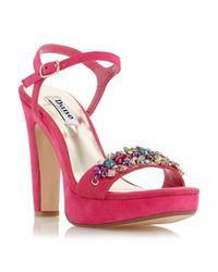 Dune - Pink Meghan Suede Two Part Jewel Trim Sandals - Lyst