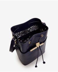Ted Baker   Blue Crosshatch Leather Bucket Bag   Lyst